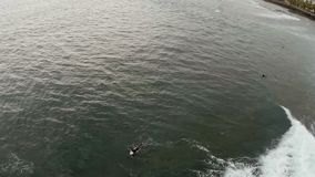 Luftbild des wütenden Ozeans mit Surfern Adrenalin Pumpen Urlaub Teneriffa, Spanien, Kanarische Inseln stock video