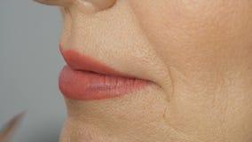 Mulher adulta de meia idade num salão de beleza A lista de estilos compõe lábios mestres com batom usando pincel especial Desvane vídeos de arquivo