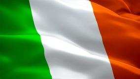 Videovågor i Irland Bakgrund för realistisk irländsk flagga Irlands flagga - slingor Closeup 1080p Full HD 1 920X1080-film stock illustrationer