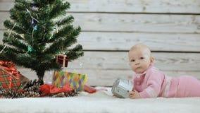 Newborn младенец исследуя рождественскую елку сток-видео