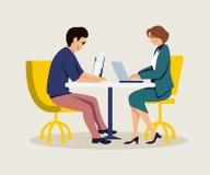 coworking平的传染媒介例证的同事 库存例证