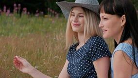 三个年轻迷人的女孩在野餐 摄影师在两个模型的无镜相机上拍照 模型 影视素材