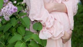 穿粉色裙装的孕妇 一个身着漂亮裙子的怀孕少女在公园散步 怀孕 影视素材
