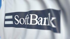 Bandiera d'ondeggiamento con SoftBank Group Corp logo, primo piano Animazione loopable editoriale 3D illustrazione vettoriale