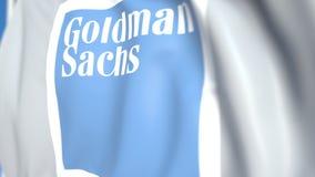 Bandiera d'ondeggiamento con Goldman Sachs Group, inc logo, primo piano Animazione loopable editoriale 3D illustrazione di stock