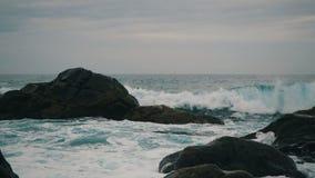 Des vagues s'élèvent dans l'air à la belle lumière du coucher du soleil La grande vague s'écrase sur les roches et s'arrose Vue r banque de vidéos