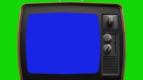 Vieux téléviseur, fond vert avec écran bleu Prêt à remplacer chaque écran de couleur par un métrage ou une image que vous souhait illustration stock
