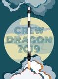 E r Wektorowy plakatowy statek kosmiczny, księżyc, płomień i kontrpara na błękitnym tle, royalty ilustracja