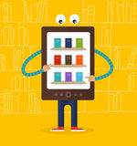 E-reader, digital tablet character Royalty Free Stock Photo