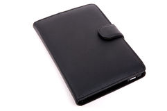 E-reader in leather cover Stock Image
