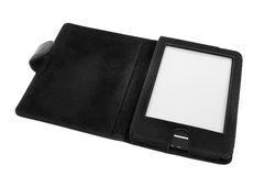 E-reader with leather cover Royalty Free Stock Image