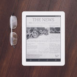 E-reader with newspaper app Stock Image