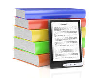 E-reader and stack of books Stock Photos