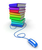 E-reading. 3D rendering of a pile of multicolored books connected to a computer mouse Royalty Free Stock Photos