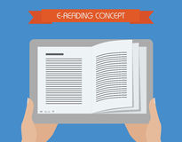 E-reading conceptual illustration. Hand holding tablet with book on screen. Stock Photos