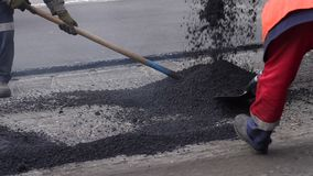 E Reparatur der Stra?en asphalt stock video footage