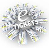 e ringowy biletów słowo Obraz Stock