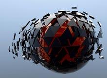 E rossa 3d astratto rotto sfera nera isolato Fotografia Stock Libera da Diritti
