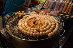 E-Saan Sausage, the native food sold on Warorot market, Chiang Mai. Royalty Free Stock Image