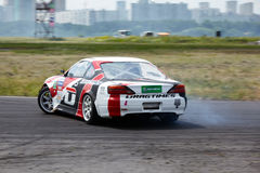 E.Satyukov racing car on track in 3-d tour Stock Photo