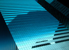 E-Scape. Building in Midtown Manhattan with reflection of sky and surrounding buildings Stock Images