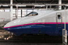 The E2 Series bullet (High-speed or Shinkansen) train. TOKYO-April 19,2016:Side view of the E2 Series bullet (High-speed or Shinkansen) train. This train Royalty Free Stock Images