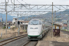 E3 Series bullet(High-speed) train at Akayu station. Royalty Free Stock Photography