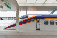 E3 Series bullet (High-speed) train at Yamagata station. Royalty Free Stock Photos