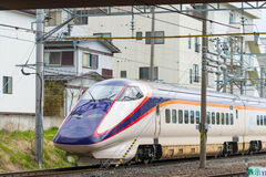 E3 Series bullet (High-speed) train at Yamagata station. Stock Photo