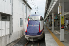 E3 Series bullet (High-speed) train at Yamagata station. Stock Images