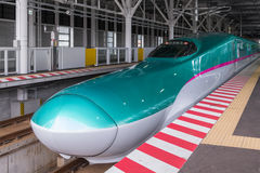 E5 Series bullet(High-speed) trains in Shin-Hakodate-Hokuto stat Royalty Free Stock Images