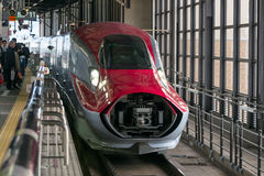 E6 Series bullet train opens nose cover for coupling process. Stock Photo