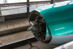 E5 Series bullet train opens nose cover. Stock Photo