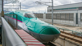 E5 Series bullet train in Shin-Hakodate-Hokuto station. Royalty Free Stock Images