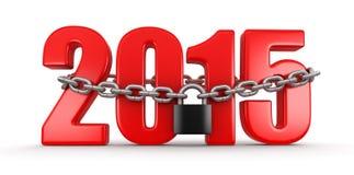 2015 e serratura (percorso di ritaglio incluso) Fotografie Stock