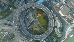 E Shanghai, China Lucht verticale top-down mening stock footage