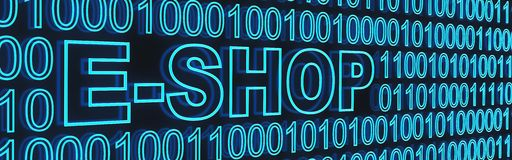 E-shop and binaty code Royalty Free Stock Images