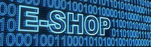 E-shop and binaty code Royalty Free Stock Photo