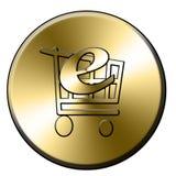 E-shop button. Golden e-shop button for web site design Stock Photo