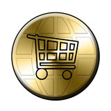E-shop button. E-shop golden button circle Royalty Free Stock Photography