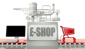 E-shop concept with computer and cart Royalty Free Stock Image