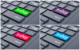 E-shop concept on keyboard Royalty Free Stock Image