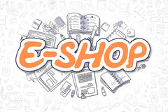 E-Shop - Doodle Orange Text. Business Concept. Stock Photo
