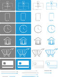 E-shop E-comerce Icon set. Small set of icons for e-shops and e-commerce websites Royalty Free Stock Photos