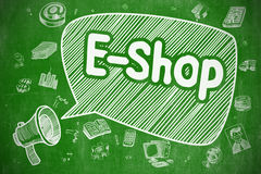E-Shop - Hand Drawn Illustration on Green Chalkboard. Royalty Free Stock Photos