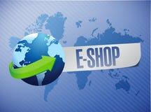 E shop. shop world map illustration design Stock Image