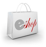 E-Shop Store Bag Buyer Customer Purchasing Products Merchandise. E-Shop words on a white bag to illustrate an online or digital store selling products and Stock Image