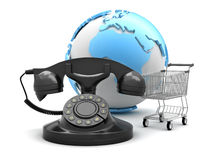 E-shop symbols; shopping cart, retro phone and earth globe Royalty Free Stock Photos