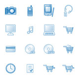 E-shop web icons, blue series. Vector web icons, business, finance, computers series Stock Images
