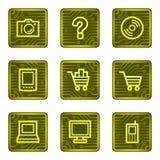 E-shop web icons, electronics card series. Vector web icons, electronic buttons series Stock Image